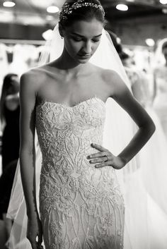 Behind the scenes and details of Monique Lhuillier Spring/Summer 2015 Bridal Show.