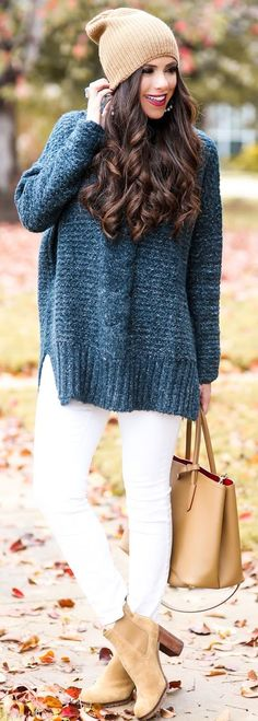 Blue Oversize Sweater Camel Beanie Fall Weekend Style Inspo by The Sweetest Thing