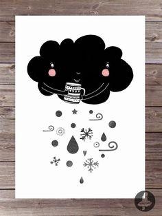 pokój dziecka - ilustracje-Plakat z chmurką