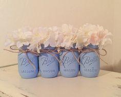 Baby Blue Distressed Mason Jars Light Blue Rustic by MyHeartByHand