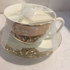 NICOLE MILLER Home METALLIC GOLD FLORAL LEAF Large Coffee TEA CUP & SAUCER SET #NICOLEMILLER