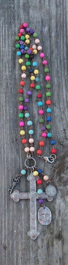 Religious Rosary Cross Assemblage Necklace by Secret Stash Boutique on Etsy