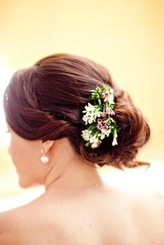 with flowers updo
