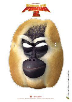 Masque du maître Singe dans Kung Fu Panda, à colorier et à découper