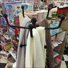The broad widespread arms of this Ball-Finial Coat Rack Scarf Display allow casual draping of even the most generous scarfs, throws, and wraps. Retail Fixtures, Store Fixtures, Scarf Display, Nautical Knots, Jewellery Display, Shapes, Coat, Clothes, Sewing Coat