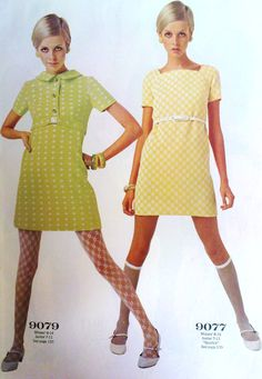 """vintagefashionandbeauty: """"Twiggy modelling dresses designed for her in McCall's, January 1968. (♥) """""""