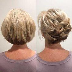 Newest Short Hair Updo Hairstyle Ideas - frisuren Hair Dos, Bob Hair Updo, Short Hair Cuts, Pixie Cuts, Bob Hairstyles, Popular Hairstyles, Natural Hairstyles, Hair Lengths, New Hair