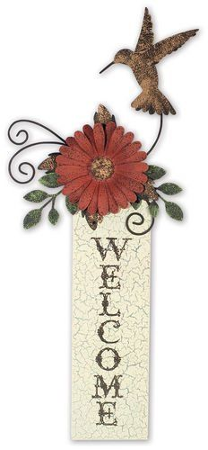 Sunset Vista Designs Hummingbird Welcome Sign ** Details can be found by clicking on the image. (This is an affiliate link) #HomeDecorAccents