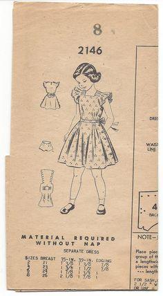 Vintage 1950s Mail Order Pattern 2146 Girl's Dress by VintageCAlm