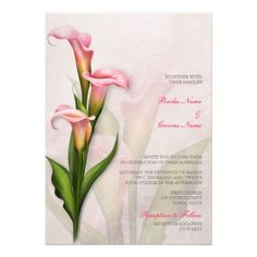 Romantic floral wedding invitation in soft shades of pink and pale blush with a pink Calla Lily. ♥ See matching products at http://www.zazzle.com/accentdesign/gifts?cg=196507675768203791&rf=238252963030229232&tc=wpz ♥