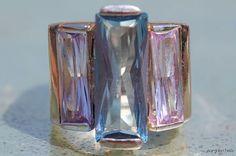 Vintage 925 Sterling Silver Genuine Blue Topaz & Amethyst Modernistic Ring