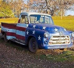 old pick-up, painted with the USA flag!