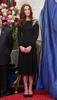 The Duchess of Cambridge  in the 'silver fern - All Blacks' dress which so pleased New Zea...