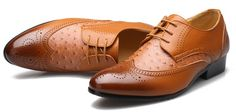 Mens #brown business casual leather lace up Oxford #DressShoe, hollow cut, leather upper and lining.