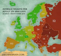 #Map time: wealth per adult in #Europe. Re-pinned by #Europass