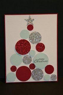 cute christmas card from glittered paper, made from circles! really neat idea