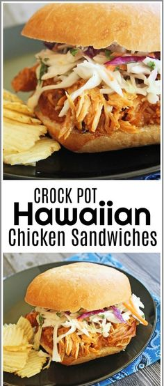 I have a wonderfully easy and fabulous tasting crock pot recipe for you all today! These sandwiches are seriously super delicious. The chicken is slow cooked in a wonderful sweet and sour,Hawaiian sauce.