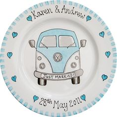 Wedding Gift Plate - Camper Van by bluebelle create Sharpie Plates, Sharpie Art, Cake Decorating Set, Decorating A New Home, Pottery Painting, Ceramic Painting, Birthday Plate, Paint Your Own Pottery, Personalized Plates