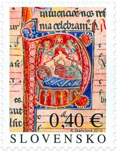 Christmas 2010 Slovakia: Initial with the Birth of Christ from Bratislava Mass-book