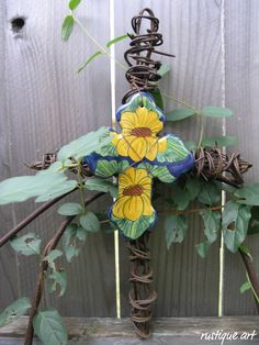 Large Barbed Wire Cross with Ceramic Cross