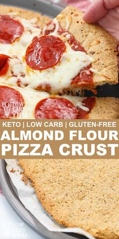 Craving pizza but without all the carbs? With this easy almond flour pizza crust, you can enjoy fresh homemade pizza that's low carb and keto friendly. Pizza Sans Gluten, Low Carb Pizza, Low Carb Keto, Gluten Free Pizza Crust Recipe Easy, Keto Pizza Base, Ketogenic Recipes, Low Carb Recipes, Pizza Recipes, Ketogenic Diet