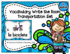 Spanish Vocabulary Write the Room: Transportation Set from Enchanted in Elementary on TeachersNotebook.com -  (10 pages)  - Enchanted in Elementary: Spanish Vocabulary Write the Room: Transportation Set