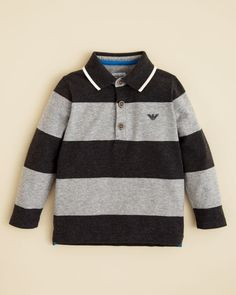 Armani Boys' Thick Stripe Polo Shirt - Sizes 8-16