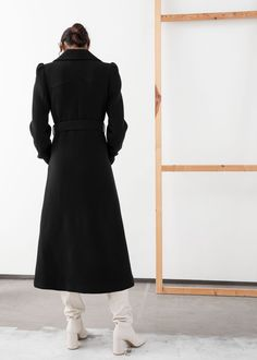 Belted Wool Blend Long Coat - Black - Woolcoats - & Other Stories Fashion Story, Wool Coat, Double Breasted, Editorial Fashion, Wool Blend, Personal Style, High Neck Dress, Stylists, Dresses For Work