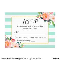 Shop Modern Mint Green Stripes Floral RSVP Reply created by CardHunter. Wedding Mint Green, Striped Wedding, Floral Wedding, Black And White Wedding Invitations, Modern Wedding Invitations, Wedding Invitation Design, Floral Stripe, Save The Date Cards, Green Stripes