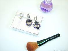 Купить Серебряные серьги из бисера с аметистом и Сваровски в интернет магазине на Ярмарке Мастеров