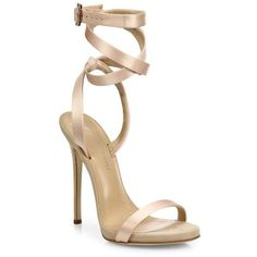 Giuseppe Zanotti Giuseppe for Jennifer Lopez 120 Satin Ankle-Wrap... (2.910 BRL) ❤ liked on Polyvore featuring shoes, sandals, heels, beige sandals, wrap sandals, ankle strap sandals, open toe sandals and open toe heel sandals