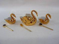 3 R Pastaud Limoges Gold Swan Salt Cellars/Spoons Salt Cellars, Antique Glass, Spoons, Victorian Fashion, Swan, Stud Earrings, Antiques, Gold, Jewelry