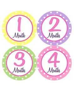 Monthly Onesie Stickers Girl Baby Month Stickers Pink Purple Green Yellow Baby Shower Gift Idea by BumpAndBeyondDesigns on Etsy, $10.00
