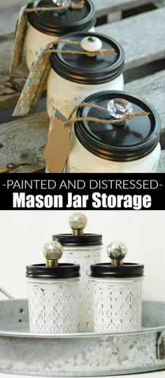 DIY Painted Mason Jar Storage with Adorable Knobs! Plus 10 more Jar Ideas! Mason Jar Projects, Mason Jar Crafts, Mason Jar Diy, Distressed Mason Jars, Painted Mason Jars, Diy Home Decor Projects, Diy Projects To Try, Bottles And Jars, Glass Jars