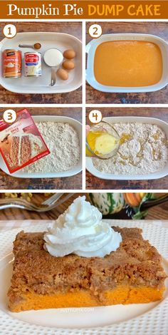 Pumpkin Pie Dump Cake - Pumpkin Pie Dump Cake – Instrupix The Effective Pictures We Offer You About paleo recipes A qual - Mini Desserts, Holiday Desserts, Just Desserts, Delicious Desserts, Yummy Food, Desserts For Thanksgiving Easy, Easy Fall Deserts, Cake Mix Desserts, Thanksgiving Sides