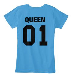 Queen 01 Heathered Bright Turquoise   T-Shirt Back