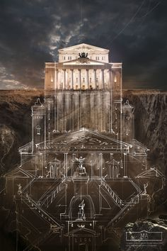 """BELOW THE SURFACE - Agency Saatchi&Saatchi Russia has made illustrations campaign for the Schusev State Museum of Architecture in Moscow, entitled as """"Below The Surface"""". Architecture Graphics, Architecture Drawings, Architecture Design, Architecture Illustrations, Russian Architecture, Monument Russe, Blog Art, Bolshoi Theatre, Below The Surface"""