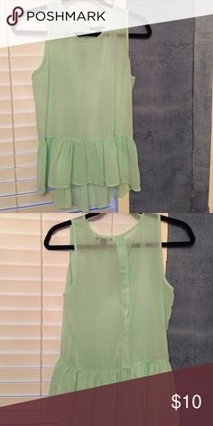 Peplum top Mint green sheer peplum top. Very pretty color. Like new condition Forever 21 Tops Blouses