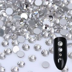 1440pcs Transparent Nail Rhinestones Multi-size Flat Bottom Shining Clear Accessories Manicure 3D Nail Art Decorations