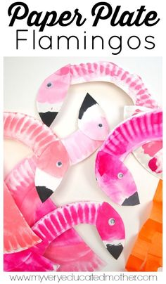 Studying birds or colors? Here's a great kid's crafting activity Paper Plate Flamingos!