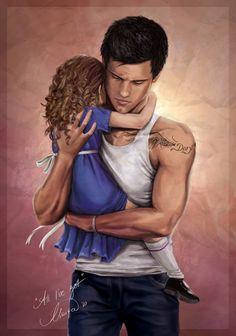 Jacob and Renesmee in an embrace. Stunning The Twilight Saga: Breaking Dawn - Part 2 fan art.