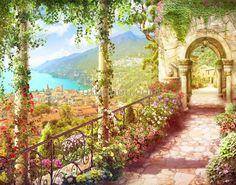 горы ,море ,океан ,розовые цветы ,желтый цветок ,арка ,дома ,деревья вид ,листья