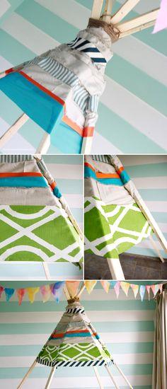 DIY Tipi indio sin coser para niños | Blog F de Fifi: manualidades, DIY, maternidad, decoración, niños.