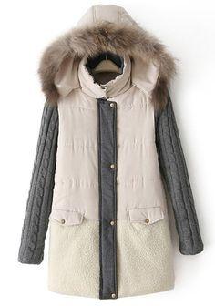b4708365d493 Stylish Hooded Long Sleeve Spliced Faux Fur Design Coat For Women Wool  Coat, Fur Coat