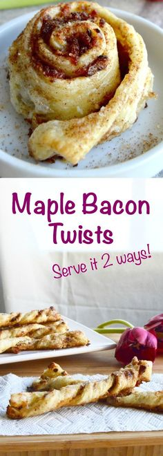 Maple Bacon Cheese Twists: sticky maple syrup coats the crispy salty bacon over cream cheese all encased in flaky Puff Pastry, your guests will love them. via @westviamidwest