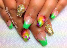 St Patrick's day  Coffin nails  Color changing nails  Styliztik nailz by sarah