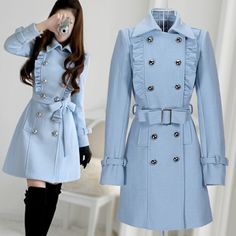 Korea New Style Women Sky Blue Military Coat Jackets Jacket | eBay