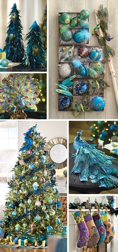 HOLIDAY PRETTY PEACOCK All this week we're showcasing our three best holiday collections for your home. And today, it's the Peacock Collection. For the past three years, we've indulged in a collection full of pretty plumes. This year, our. Peacock Christmas Tree, Peacock Ornaments, Christmas Tree Drawing, Blue Christmas, Xmas Tree, Christmas Themes, All Things Christmas, Christmas Holidays, Glass Ornaments