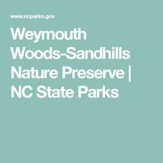 Weymouth Woods-Sandhills Nature Preserve   NC State Parks