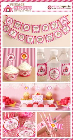 Vintage Pink Carnival Circus Birthday Party Package by venspaperie, $35.00